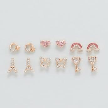 Set of 6 - Assorted Embellished Stud Earrings