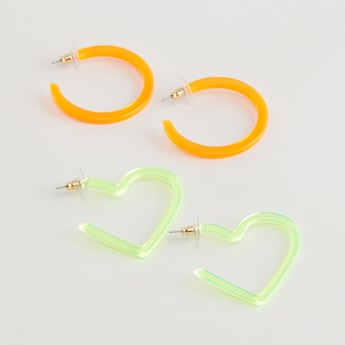 Set of 2 - Textured Dangling Earrings with Pushback Closure