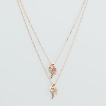 Set of 2 - Embellished Pendant Necklace with Lobster Clasp