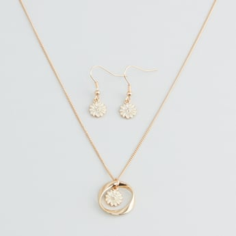 Studded Necklace with Dangling Earrings Set