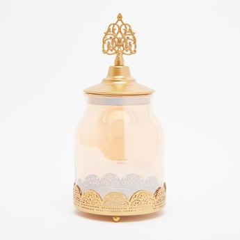Decorative Tea Light Candle Jar with Lid - 12x27 cms