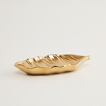 Metallic Leaf Shaped Plate - 21.3x9.4x3 cms