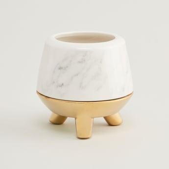 Ceramic Candleholder with Metallic Base - 9x8.5 cms