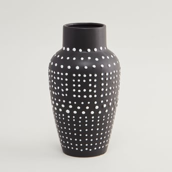 Ceramic Vase with Slip Trailed Detail - 15x15x25.8 cms
