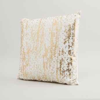 Sequin Detail Filled Cushion with Zip Closure - 45x45 cms