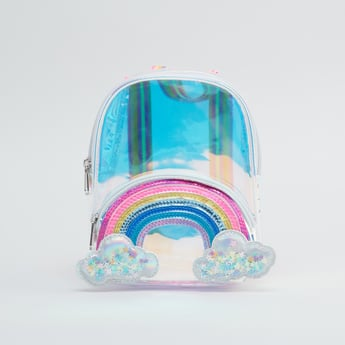 Rainbow Applique Detail Backpack with Zip Closure