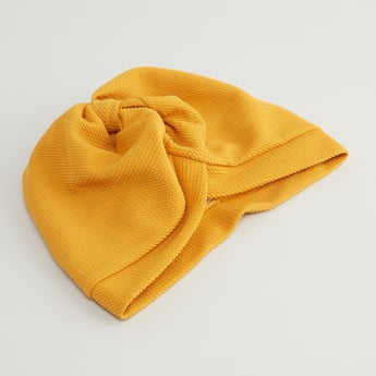Textured Turban with Knot Detail