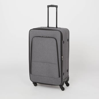 Textured Soft Trolley Bag with Retractable Handle and Caster Wheels