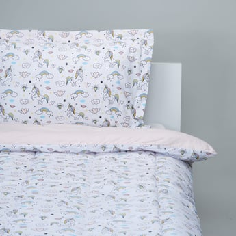 Unicorn Print 2-Piece Single Comforter Set