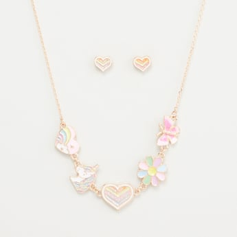 Glitter Embellished Necklace and Stud Earrings Set
