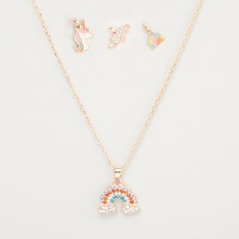 Metallic Necklace with 4-Piece Pendants