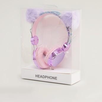 Glitter Detail Headphones with Pom Pom Detail