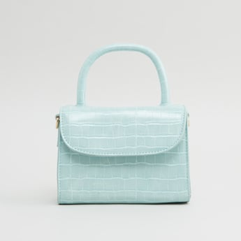 Textured Crossbody Bag with Detachable Strap and Magnetic Snap Closure