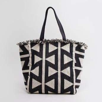 Textured Tote Bag with Twin Handles and Magnetic Snap Closure