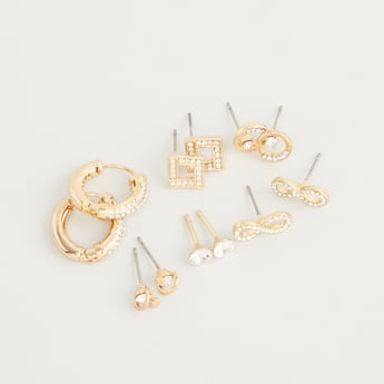 Set of 6 - Stone Studded Earrings