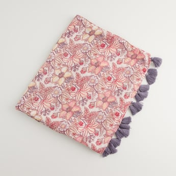 Floral Print Rectangular Scarf with Tassels