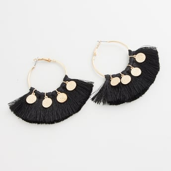 Embellished Dangler Earrings with Tassel Detail