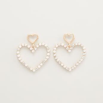Embellished Heart Shaped Earrings