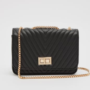 Quilted Satchel Bag with Chain Strap and Twist Lock