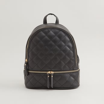 Quilted Backpack with Adjustable Shoulder Straps and Zip Closure