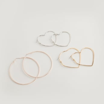 Set of 3 - Metallic Dangling Earrings with Hinged Hoop