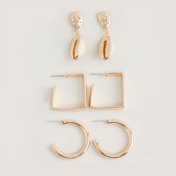 Set of 3 - Assorted Earrings with Pushback Closure