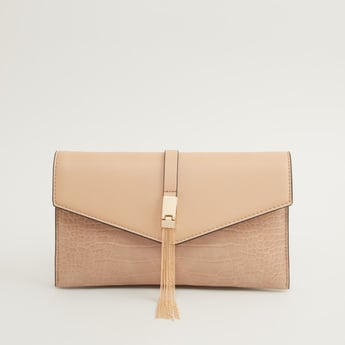 Textured Crossbody Bag with Chain Strap and Magnetic Button Closure