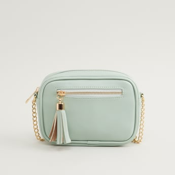 Crossbody Bag with Metallic Strap and Zip Closure