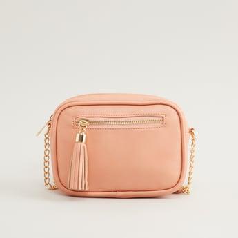 Crossbody Bag with Metallic Strap and Zip Closure