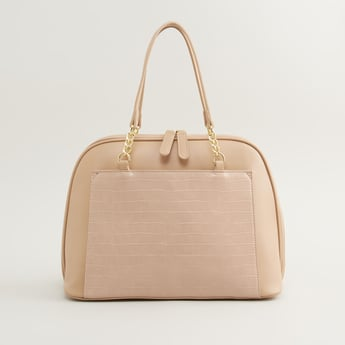 Textured Handbag with Twin Handles and Zip Closure