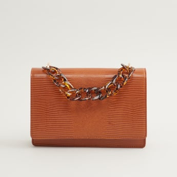 Textured Crossbody Bag with Detachable Chain Strap