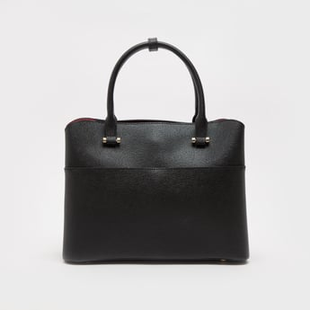 Textured Handbag with Twin Handles and Detachable Strap