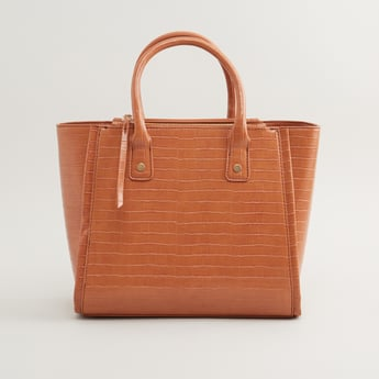 Textured Tote Bag with Detachable Sling Strap