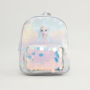 Princess Elsa Print Backpack with Embellishments