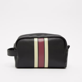 Stripe Detail Pouch with Wristlet and Zip Closure