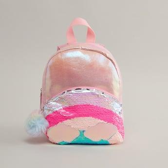 Sequin Embellished Backpack with Adjustable Straps