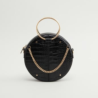 Textured Crossbody Bag with Detachable Straps and Zip Closure