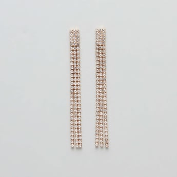 Studded Dangling Earrings with Pushback Closure