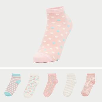 Set of 5 - Printed Ankle-Length Socks with Cuffed Hem