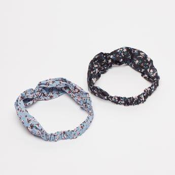 Set of 2 - Floral Print Hairband with Knot Detail