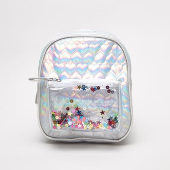Patterned Backpack with Stars and Sequin Accents