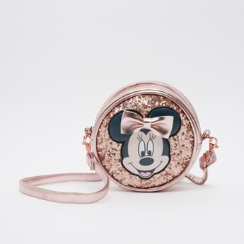 Minnie Mouse Applique Crossbody Bag with Zip Closure