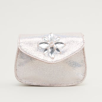 Embellished Detail Crossbody Bag with Strap and Magnetic Snap Closure