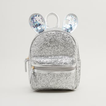 Embellished Backpack with Adjustable Straps and Zip Closure