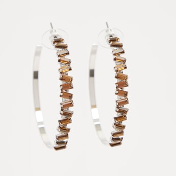 Studded Hoop Earrings with Push Back Closure