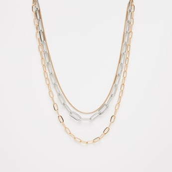Metallic Multi-Layered Necklace with Lobster Clasp