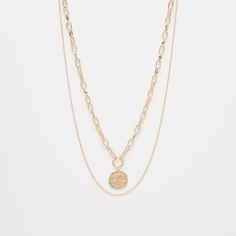 Metallic Pendant Multi-Layered Necklace with Lobster Clasp