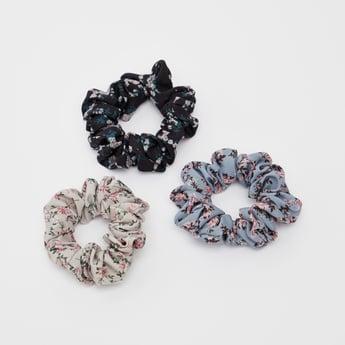أشرطة شعر مطاطية بطبعات زهور - طقم من 3 قطع