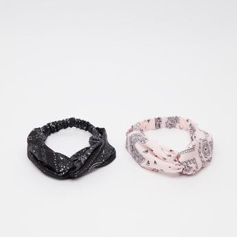 Set of 2 - Printed Headband with Knot Detail