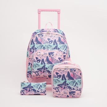Printed 3-Piece Trolley Backpack Set - 17 Inches